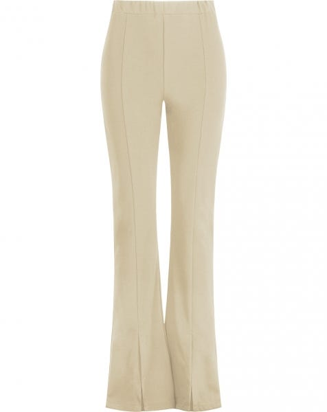 FLARED SPLIT PANTS BEIGE