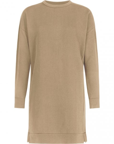 SWEATER SPLIT DRESS CAMEL