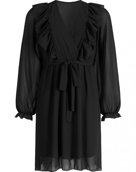 SCOTTIE RUFFLE DRESS BLACK