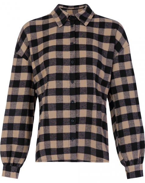 BEIGE CHECK BLOUSE