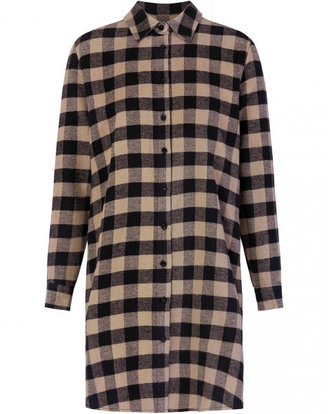 BEIGE CHECK BLOUSE DRESS