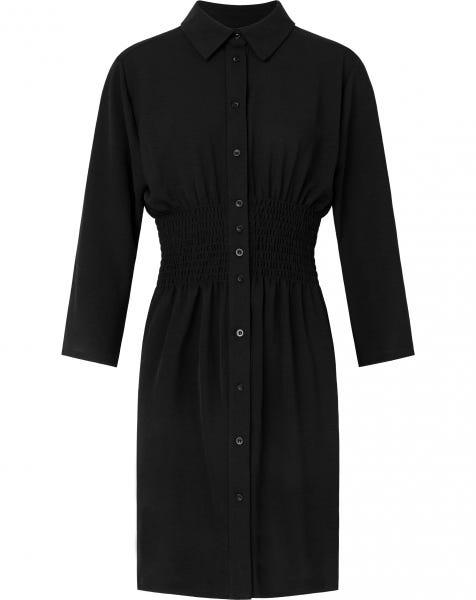 SMOCK BLOUSE DRESS BLACK