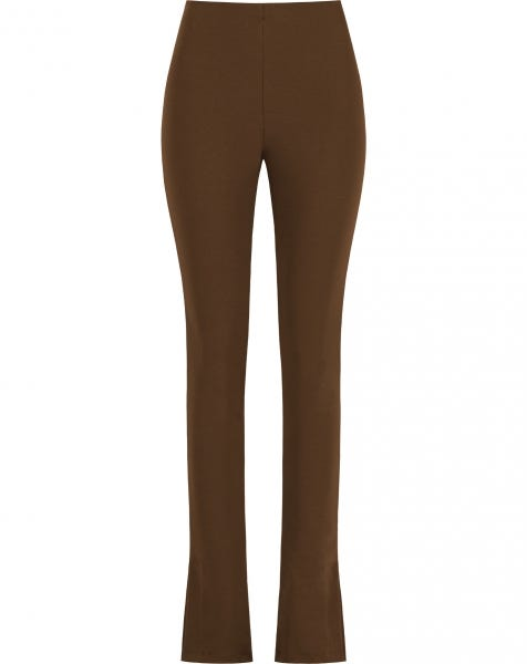 SLIT LEGGING DARK BROWN