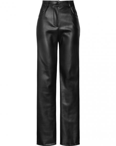 LEATHER STRAIGHT LEG PANTS BLACK
