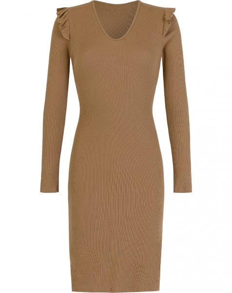HOLLY RUFFLE MIDI DRESS CAMEL