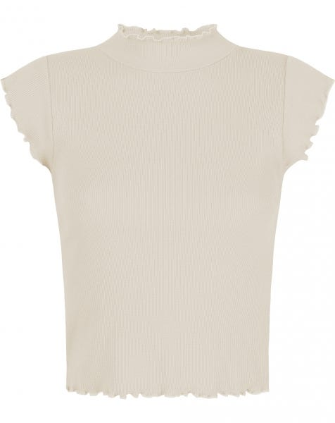 HOLLY RUFFLE TOP BEIGE