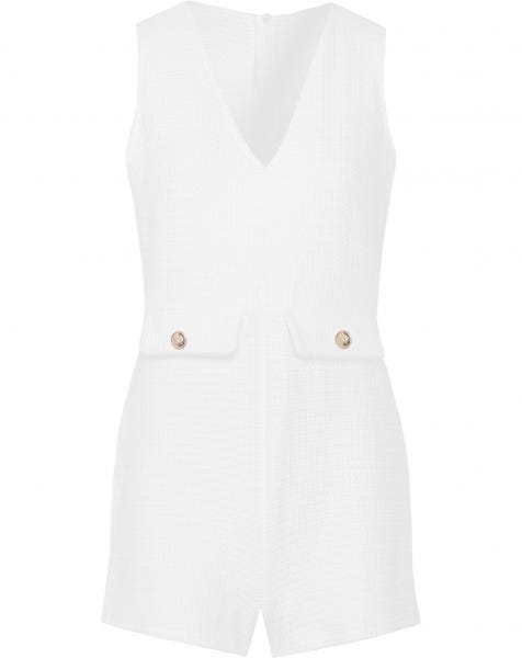 SOLID BOUCLE PLAYSUIT WHITE