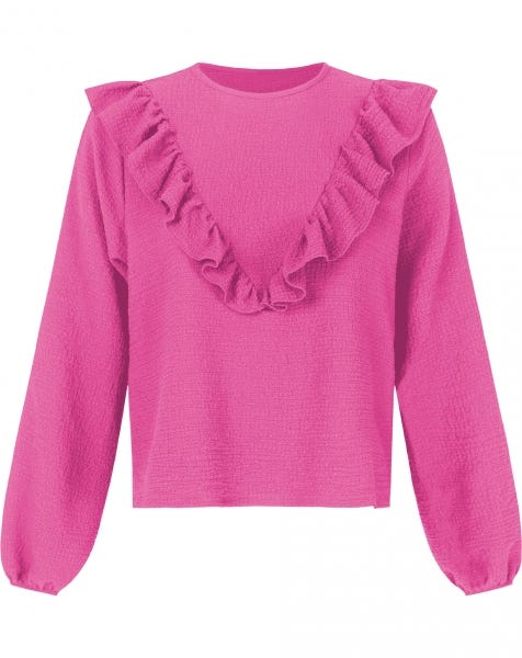 BUBBLE RUFFLE BLOUSE FUCHSIA
