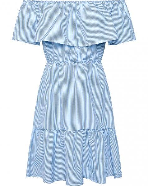 OFF SHOULDER STRIPED DRESS BLUE
