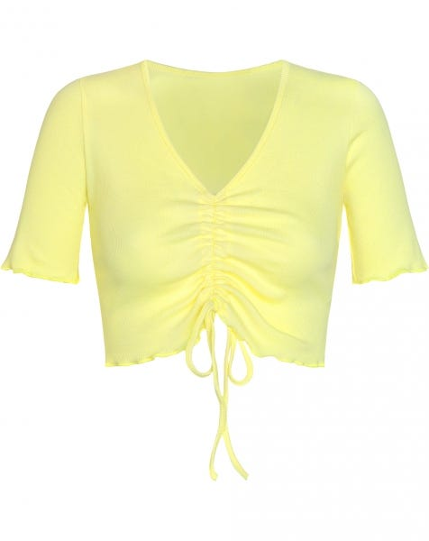 JOY LACE UP TOP YELLOW