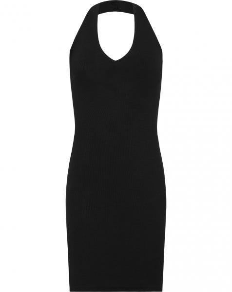 RIBBED HALTER DRESS BLACK