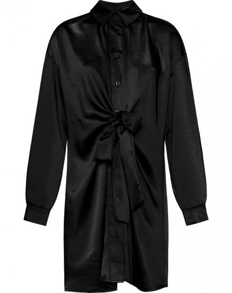 SATIN KNOT DRESS BLACK
