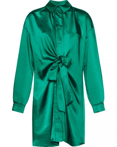 SATIN KNOT DRESS GREEN