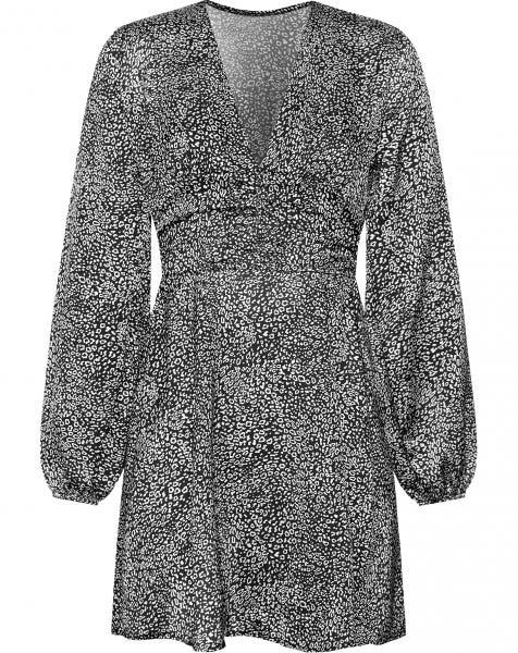 KENZA SATIN DRESS SMALL LEOPARD BLACK