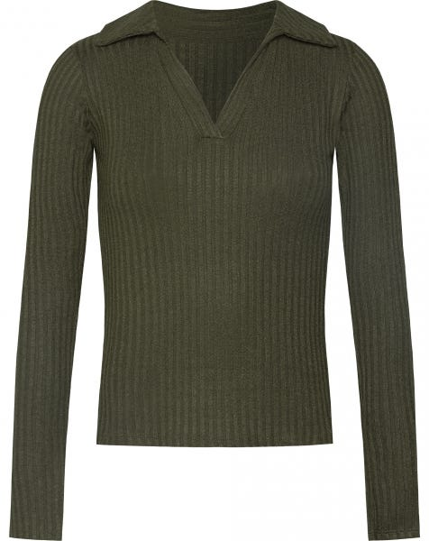 SOPHIE RIBBED POLO TOP ARMY