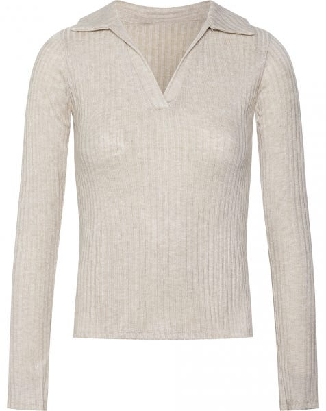 SOPHIE RIBBED POLO TOP BEIGE