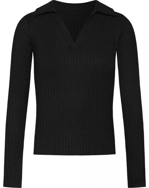 SOPHIE RIBBED POLO TOP BLACK