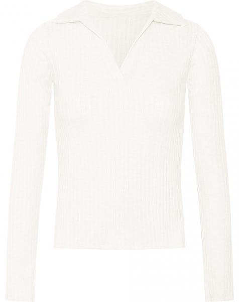 SOPHIE RIBBED POLO TOP CREAM