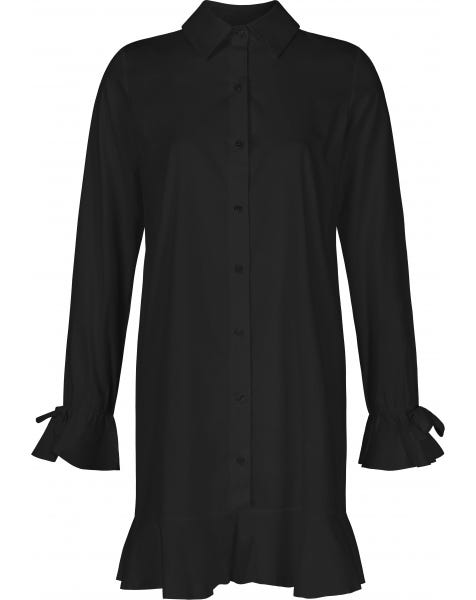 RUFFLE POPLIN DRESS BLACK