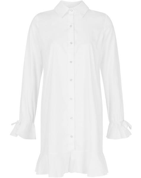 RUFFLE POPLIN DRESS WHITE