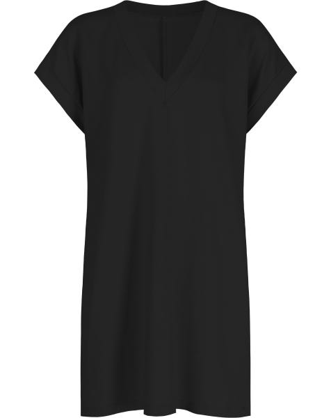 V-NECK SHIRT DRESS BLACK
