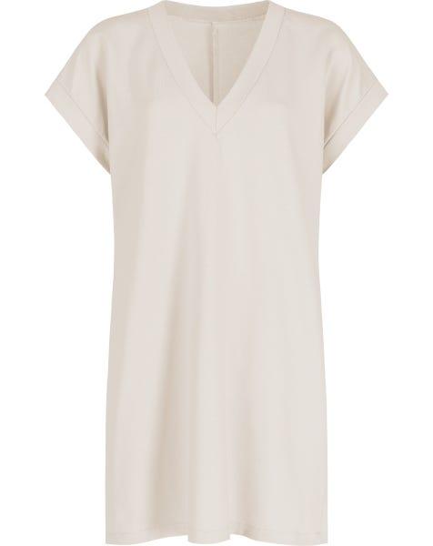 V-NECK SHIRT DRESS SAND