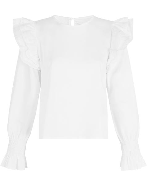 RUFFLE LACE SHOULDER TOP WHITE