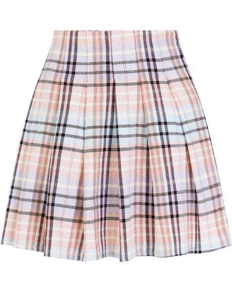 PLISSE CHECK SKIRT CORAL