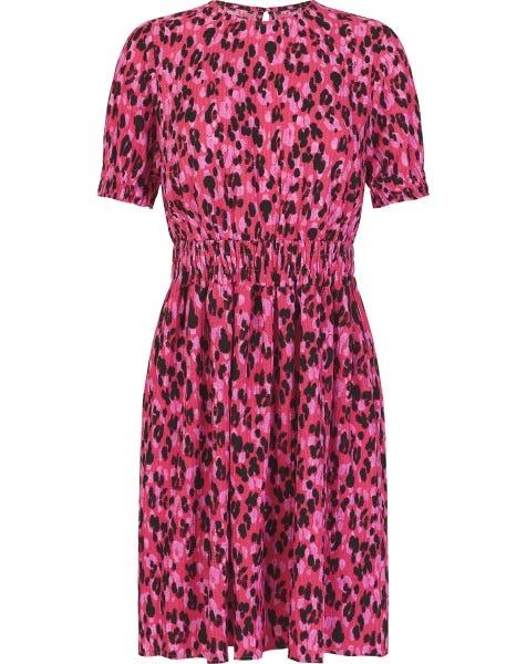 SMOCK LEOPARD DRESS PINK