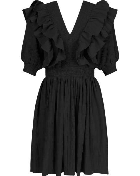 CRINKLE RUFFLE DRESS BLACK