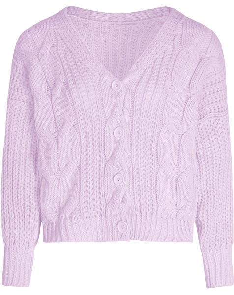 CABLE KNIT CARDIGAN LILA