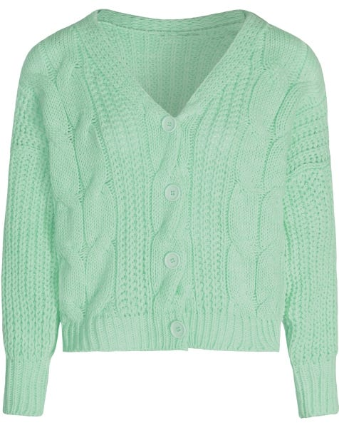 CABLE KNIT CARDIGAN MINT