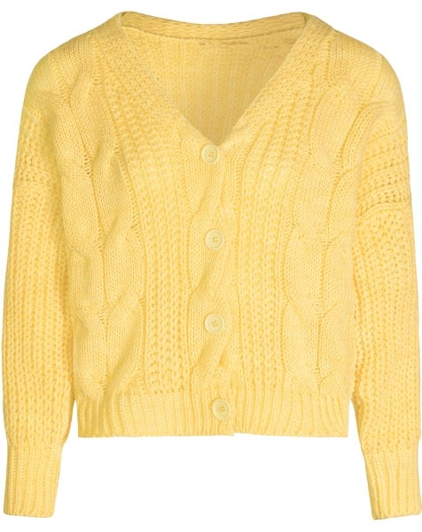 CABLE KNIT CARDIGAN YELLOW