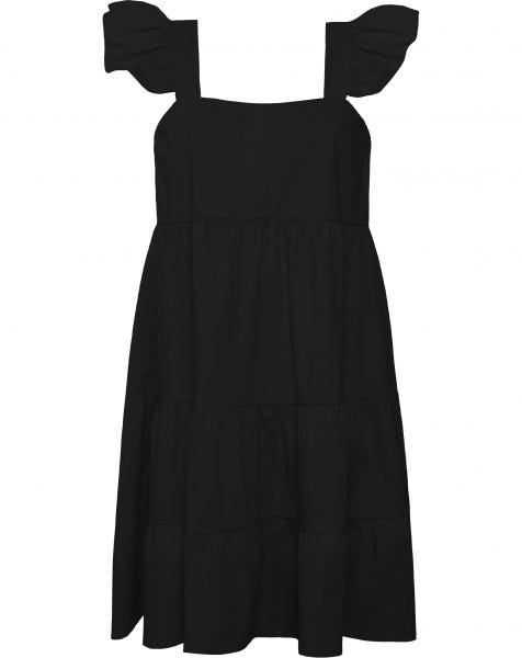 RUFFLE STRAP DRESS BLACK