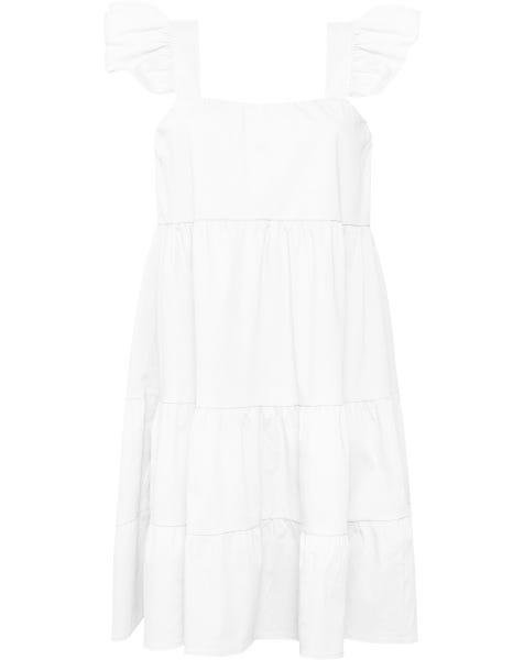 RUFFLE STRAP DRESS WHITE