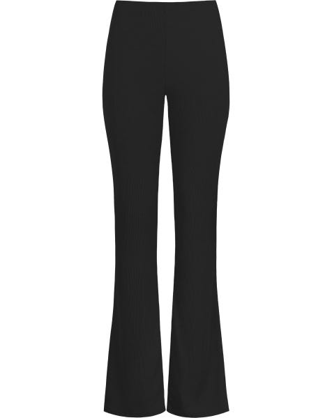 MW RIBBED FLARED PANTS BLACK
