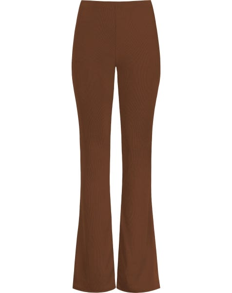 MW RIBBED FLARED PANTS CAMEL
