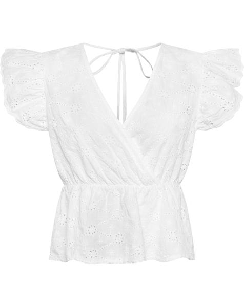 BRODERIE WRAP TOP WHITE