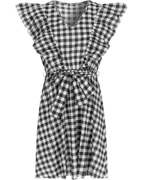 CHECK RUFFLE DRESS