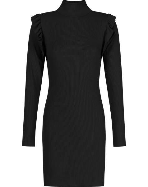RIBBED COL RUFFLE DRESS BLACK