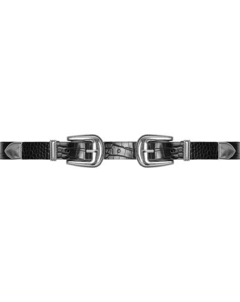 CROCO WESTERN BELT SILVER BLACK