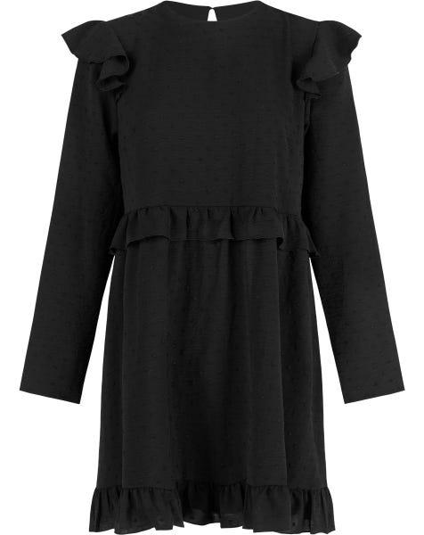 SWISS DOTS RUFFLE DRESS BLACK