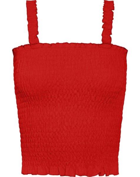 CRINKLE SMOCK TOP RED