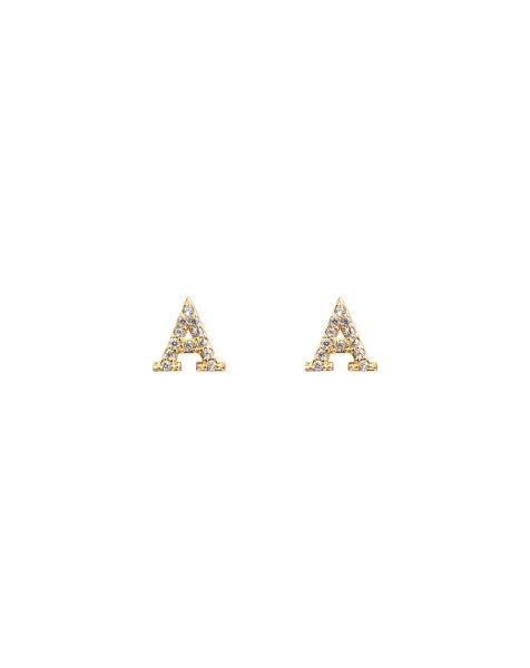 SPARKLING A EARRINGS GOLD