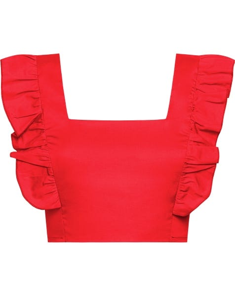 POPLIN RUFFLE TOP RED