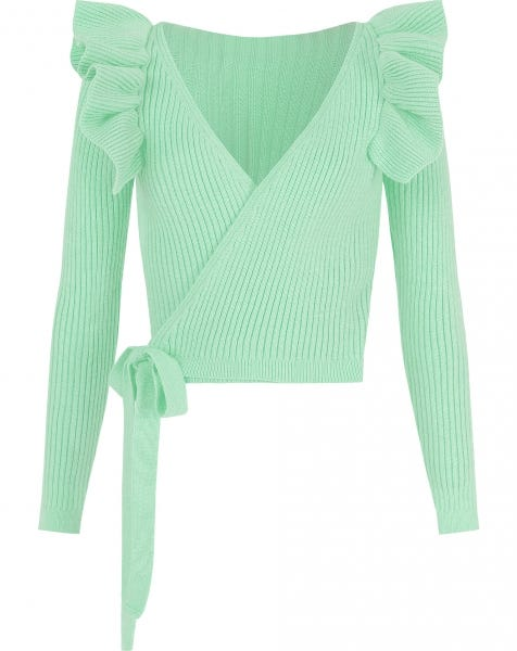 RUFFLE WRAP CARDIGAN MINT