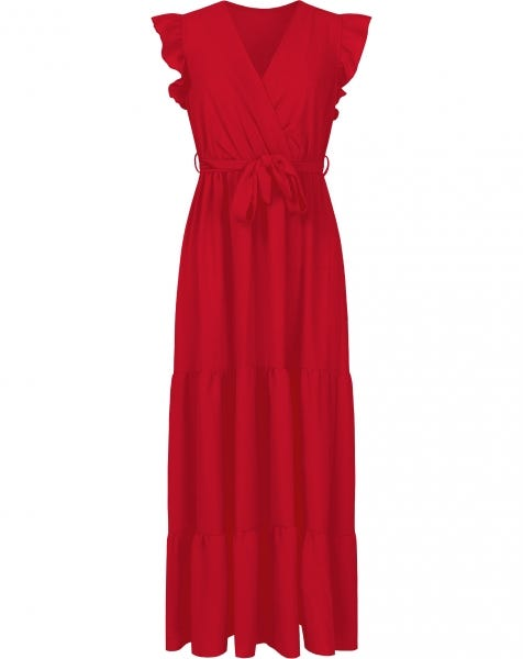 RUFFLE MAXI DRESS RED