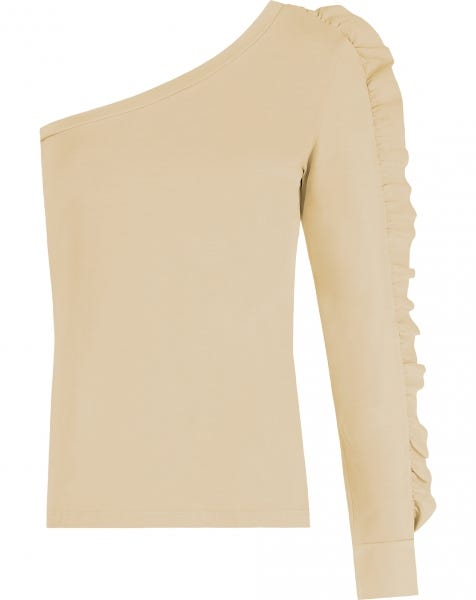 ONE SHOULDER RUFFLE TOP BEIGE