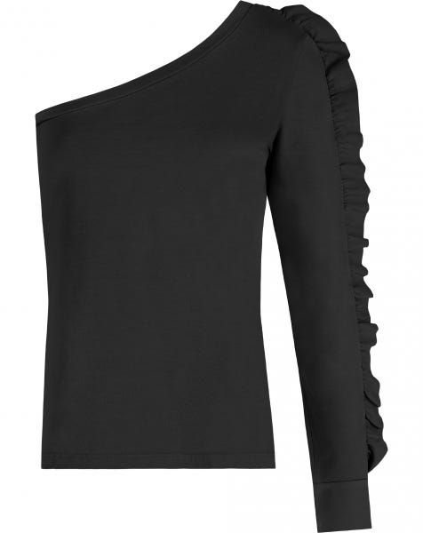 ONE SHOULDER RUFFLE TOP BLACK