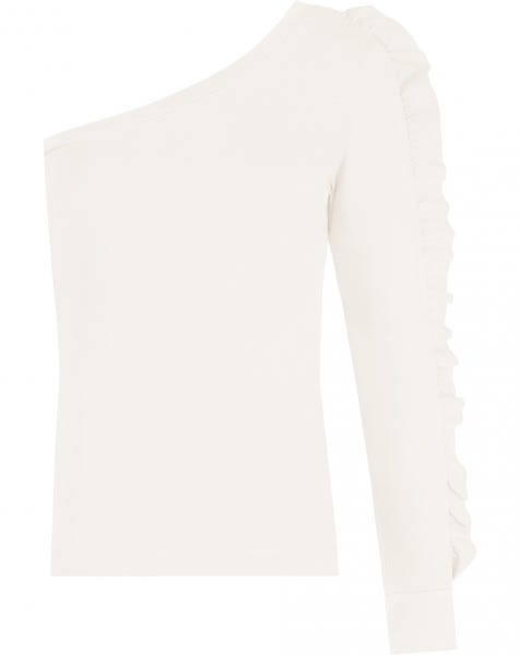 ONE SHOULDER RUFFLE TOP CREAM